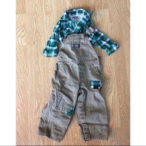 NWOT OSH KOSH Plaid and Khaki Overalls Outfit